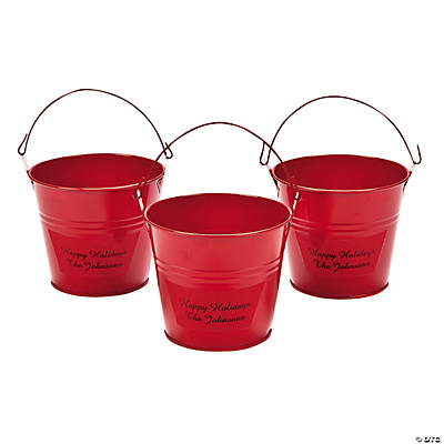 Personalized Red Tin Pails