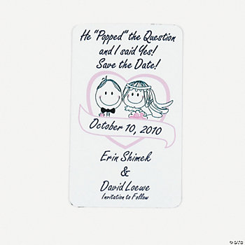 "Personalized Popped The Question ""Save The Date"" Magnets"