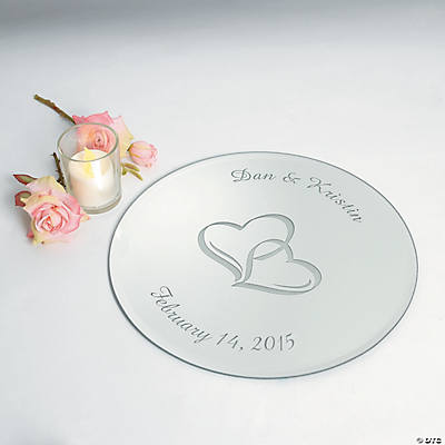 Personalized Two Hearts Round Table Mirror