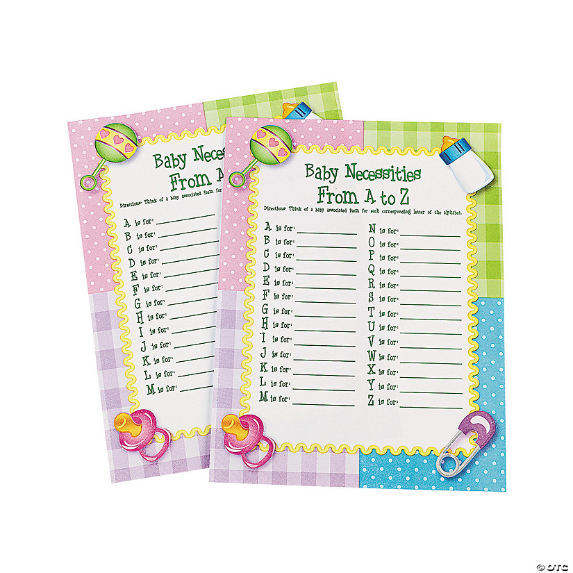 A To Z Baby Shower Game