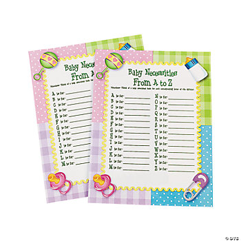 baby necessities from a to z baby shower game oriental trading