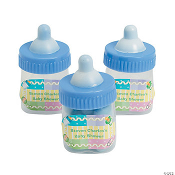 Personalized Blue Baby Bottle Containers