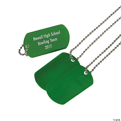 Green Personalized Dog Tag Necklaces