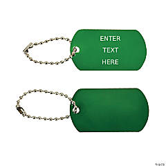 Green Personalized Dog Tag Key Chains