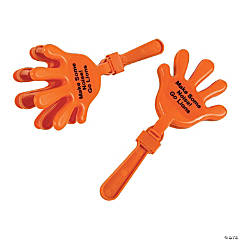 Plastic Orange Personalized Hand Clappers