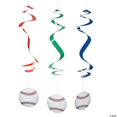 Baseball Hanging Swirl Decorations