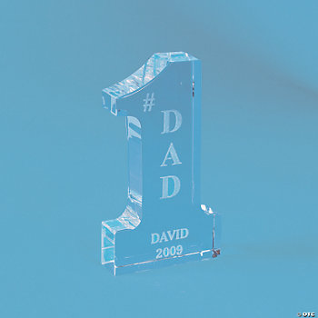 "Personalized Glass ""#1"" Dad Award"