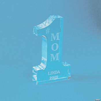 "Personalized Glass ""#1"" Mom Award"