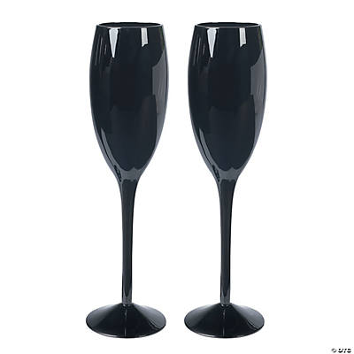 Personalized Black Wedding Flutes