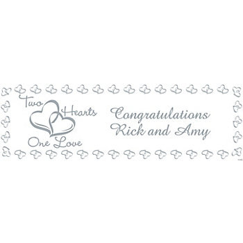 Personalized Two Hearts Wedding Banner — Medium