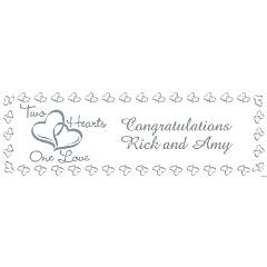 Personalized Two Hearts Small Wedding Banner
