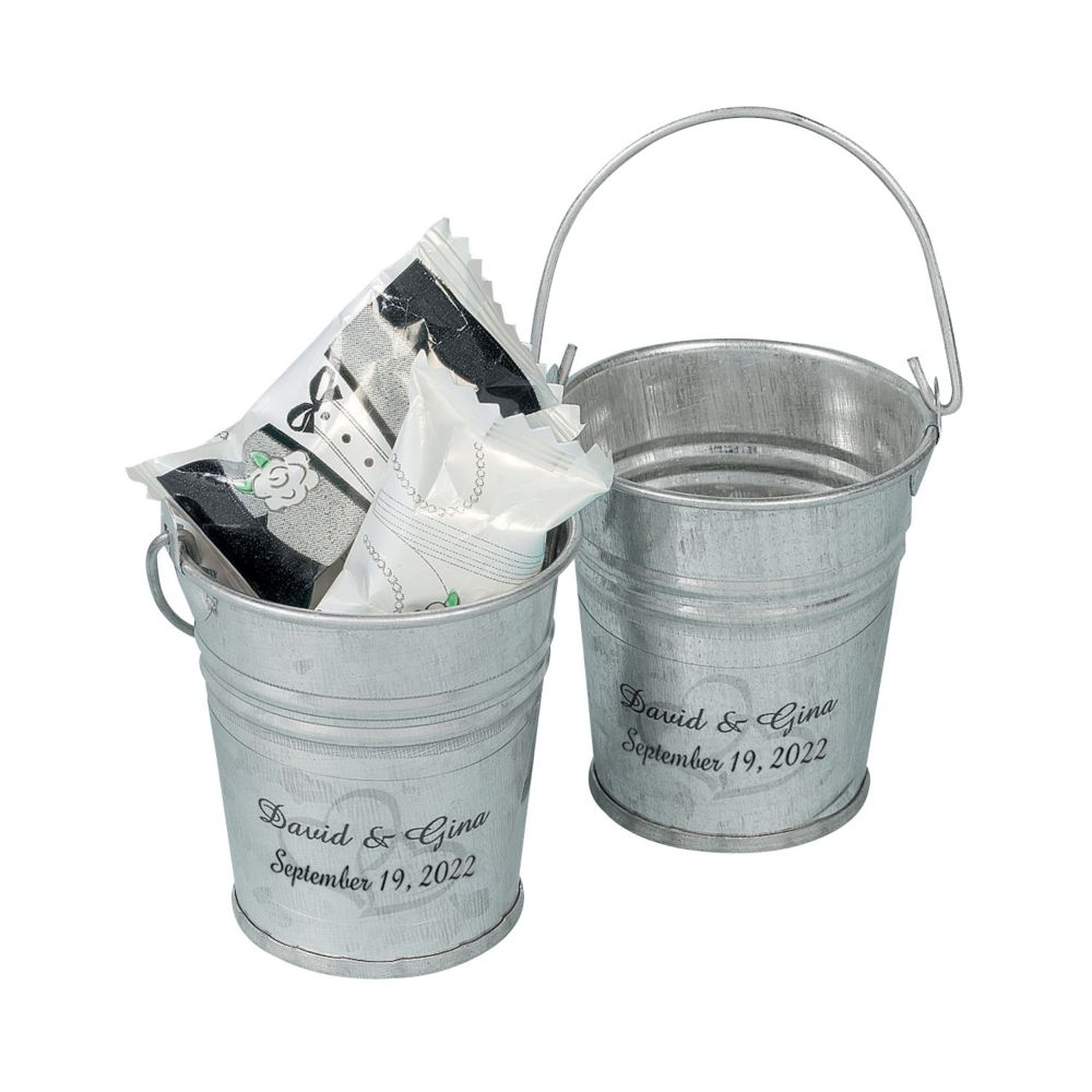 Personalized Two Hearts Mini Silver Pails - Party Decorations & Pails