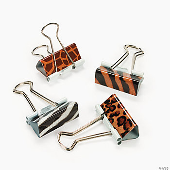 Animal Print Binder Clips