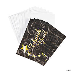 "Paper Graduation Black And Gold ""Thank You"" Cards"