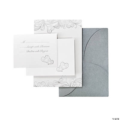 Silver & White Iridescent Wedding Invitation Set