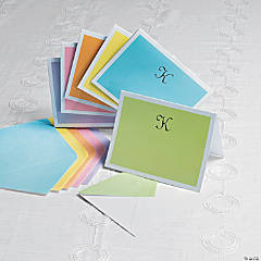 Personalized Monogrammed Pastel Colors Notecards