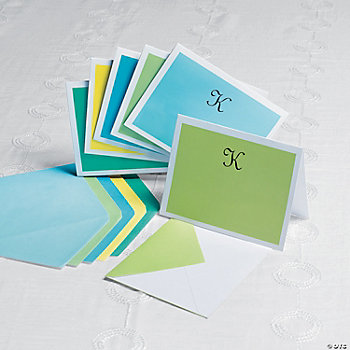 Personalized Monogrammed Cool Colors Notecards