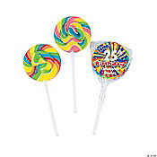 "Personalized ""Happy Birthday"" Swirl Pops"