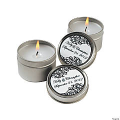 Personalized Black And White Candle Tins