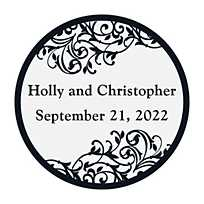 quickview · image of Personalized Black & White Wedding Favor Stickers with  sku:47/1075