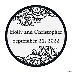 Personalized Black And White Wedding Envelope Seals