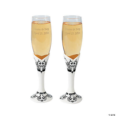 Personalized Black & White Wedding Flutes