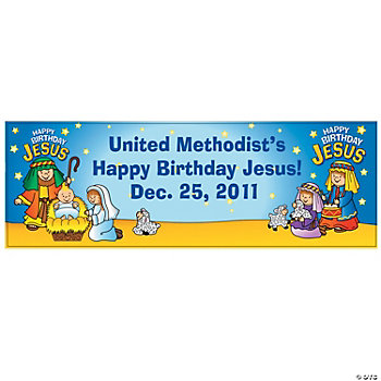 Personalized Happy Birthday Jesus Nativity Banner