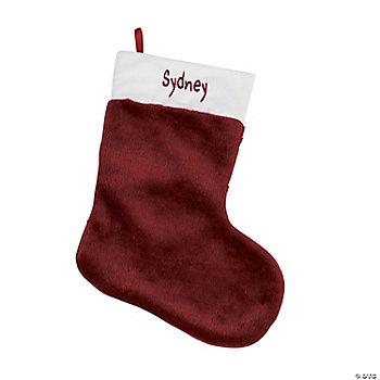 Personalized Plush Christmas Stocking - Burgundy