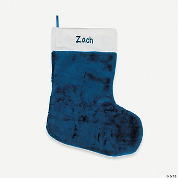 Personalized Plush Christmas Stocking - Navy