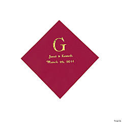 Personalized Wedding Monogram Beverage Napkins - Burgundy