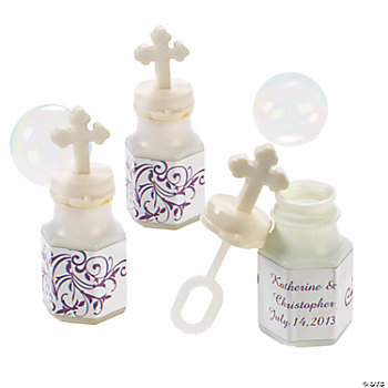 Personalized Wedding Cross Bubble Bottles