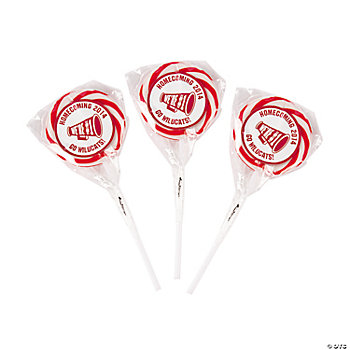 Personalized Red School Spirit Swirl Pops