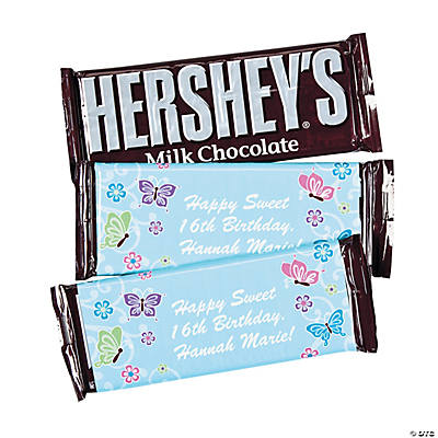 Personalized Aqua All Aflutter Candy Bars