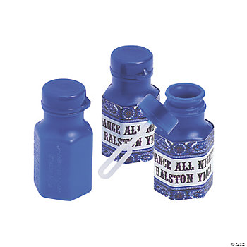 48 Personalized Blue Wild West Hexagon Bubble Bottles
