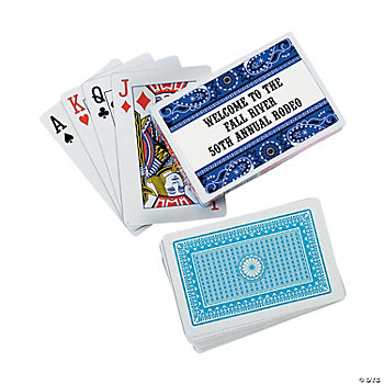 12 Personalized Blue Wild West Playing Card Decks