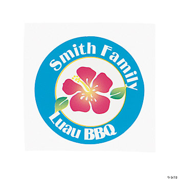 Personalized Island Hibiscus Favor Stickers