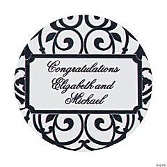 24 Personalized Classic Black And White Favor Stickers