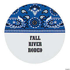 Personalized Blue Wild West Favor Stickers