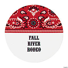 24 Personalized Red Wild West Favor Stickers