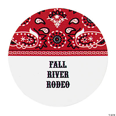 Personalized Red Wild West Favor Stickers