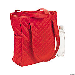Monogrammed Red Quilted Tote