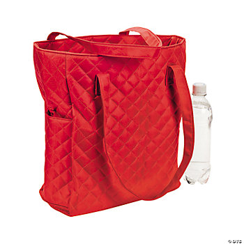 Personalized Red Quilted Tote Bag