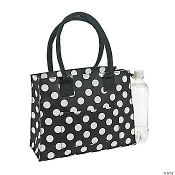 Personalized Black & White Polka Dot Tote