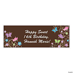 Personalized Medium All Aflutter Brown Banner