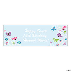 Personalized Medium All Aflutter Aqua Banner