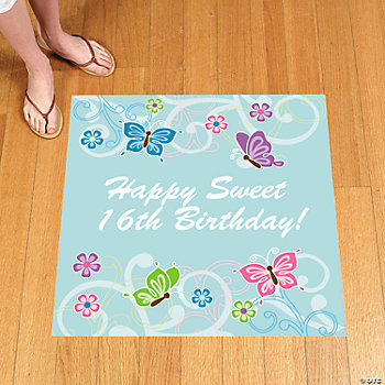 Personalized All Aflutter Aqua Floor Cling