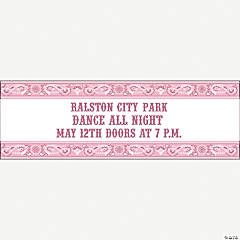 Personalized Pink Wild West Banner - Medium
