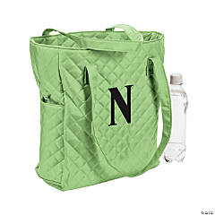 Personalized Lime Quilted Tote Bag