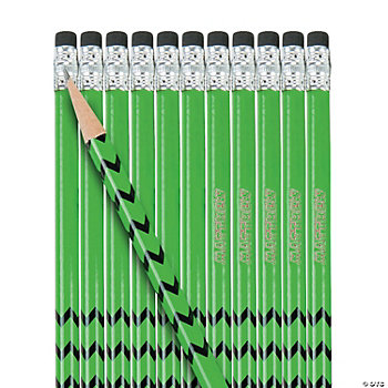 24 Personalized Green Pencils