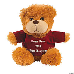 Personalized Plush Bear with Burgundy T-Shirt